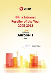 Bitrix Intranet Reseller of the year 2005-2013